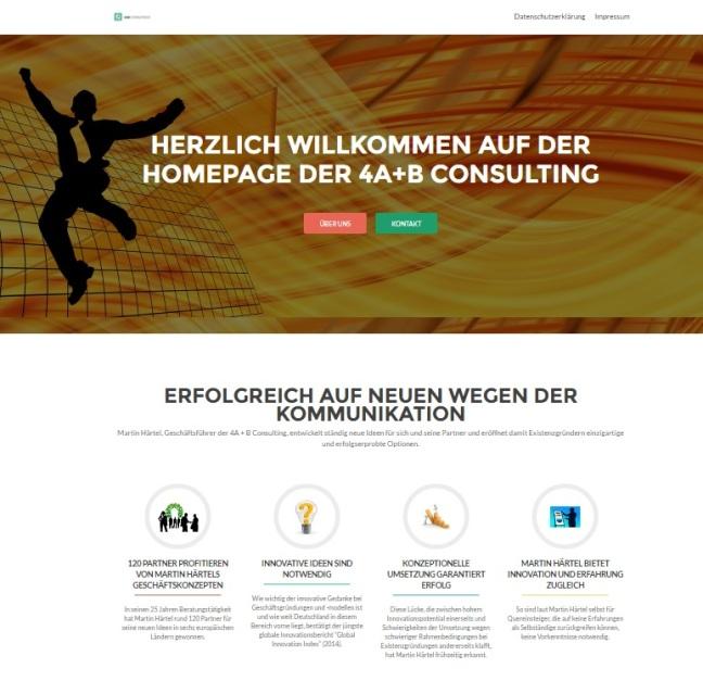 Webseite der 4A+B Consulting GmbH - Martin Härtel Geschäftsführer